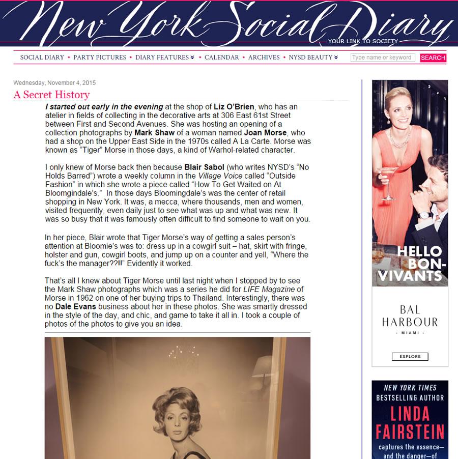 New York Social Diary: A Secret History – November 2015