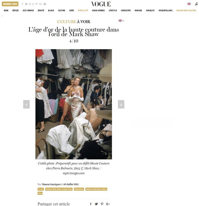 French Vogue – L'âge d'or de la haute couture dans l'œil de Mark Shaw – July 10, 2017