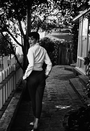 Audrey Hepburn Walking Away, 1953. A Frequently Reproduced Photo Of Audrey Hepburn, Published In LIFE In December, 1953. Audrey Is Shown Strolling In Front Of Her Beverly Hills Apartment During The Shooting Of The Film Sabrina. The Source For This Image Was A Vintage 35mm Black And White Negative.