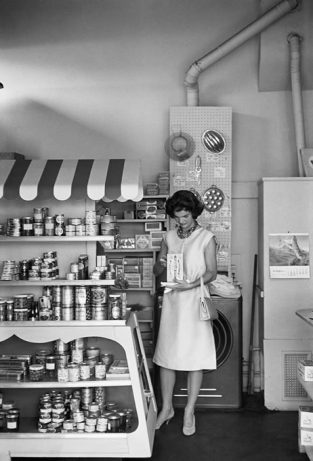 An Unusual Shot, Taken In Georgetown In 1959, Shows Jackie In A Grocery Store. The Source For This Image Was A Vintage 35mm Black And White Negative.