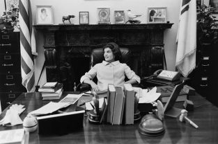 Jackie Sits At JFK's Senate Desk In 1959. The Source For This Image Was A Vintage 35mm Black And White Negative.