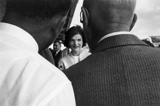 Jackie On The Campaign Trail With Two Heads. Jackie On The Campaign Trail With Then Senator JFK. First Published In LIFE August 24, 1959. The Source For This Image Was A Vintage 35mm Black And White Negative.