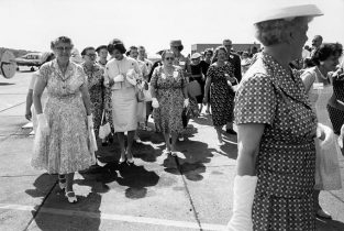 """Jackie Meets The Women Of Wheeling, West Virginia During A Campaign Stop In 1959. A Woman Present At The Time Told Us Recently That Jackie Was Remarkably Friendly And Kind To All Of Them, """"even Though We Were A Bunch Of Hicks."""" The Source For This Image Was A Vintage 35mm Black And White Negative."""