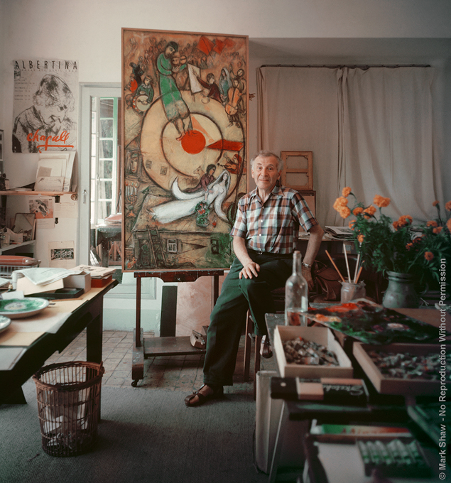 "Marc Chagall shown in his studio in Vence, France. Photographed by Mark Shaw for LIFE magazine in 1955. The source for this image was a vintage 4"" x 5"" color transparency."