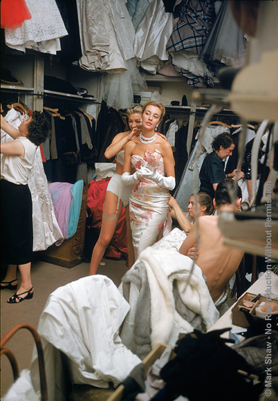 Backstage White Gown with Pearls. Backstage at the 1954 Pierre Balmain Couture show. The source for this image was a vintage 35mm color transparency.