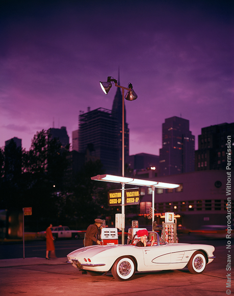 "Corvette at Gas Station at Night. A circa 1960s Corvette was photographed for an advertising campaign. The source for this image was a vintage 8"" x 10"" color transparency."