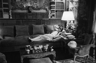 "This Photo, Published In LIFE In 1957, Shows Coco Chanel, Aged 74, At Her Apartment On The Rue Cambon In Paris Reclining On Her Massive Divan. In Notes Taken From The LIFE Picture Library, It Was Noted That Mark Shaw ""crept As Close To Chanel As Anyone Is Ever Likely To Get With Their Leica On. She Said So Herself."" Mark Shaw's Informal, Grainy, Black And White Images Of Coco Chanel Were Created Using An Unobtrusive 35mm Camera And Film Processing Methods That Enabled Him To Eliminate All Other Photographic Equipment. Although Shaw's Techniques Increased The Grain And Contrast Of The Photographs, The Lack Of Intimidating, Distracting Flash And Lights Allowed Him To Capture An Unusually Relaxed Chanel. The Source For This Image Was A Vintage 35mm Black And White Negative."