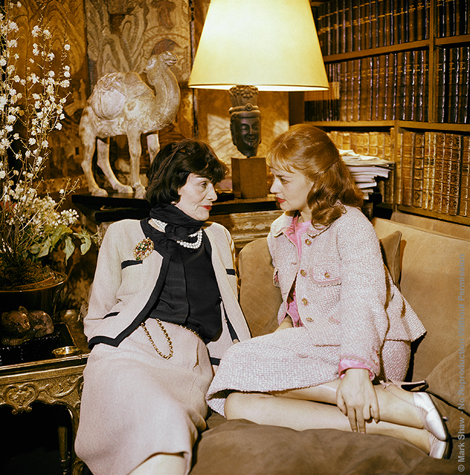 "Color Portrait of Coco Chanel and Jeanne Moreau, 1957 Chanel visits with Jeanne Moreau, the famous French film actress. This color image is a rare addition to the black and white photo essay done by Mark Shaw for LIFE magazine in 1957. The source for this image was a vintage 2.25"" x 2.25"" color transparency."