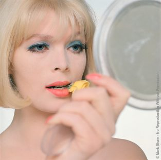 "Close Up Nico With Flower And Mirror. Nico, (born Christa Paffgen) Was A Popular Fashion Model And Later Lead Singer Of The The Velvet Underground. The Source Of This Image Was A 2.25"" X 2.25"" Vintage Color Transparency."