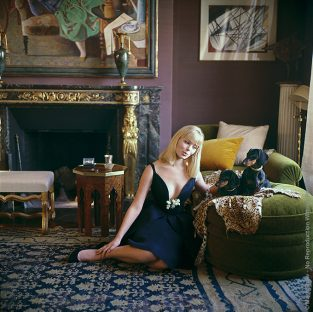 "Designers' Homes Nico With Dachshunds. Nico, (born Christa Paffgen) Was A Popular Fashion Model And Later Lead Singer Of The The Velvet Underground. She Was Photographed In 1960 For LIFE Along With Her Two Dachshunds In The Apartment Of Parisian Interior Designer Henry Samuel. Even Though The Dachshund Is Technically From The Hound Family, They Are Closer In Temperament To The Terriers, So No One Should Be Fooled By Their Over Cute Appearance! Dachshunds Can Be Strong And Feisty One Minute And Happy To Take A Big Nap The Next. Dachshunds, Given Their Size And Temperament, Make Perfect House And Apartment Dogs.This Image Is Also Part Of The Mark Shaw Photographic Archive's Fine Art Gallery Collection. The Source Of This Image Was A 2.25"" X 2.25"" Vintage Color Transparency."