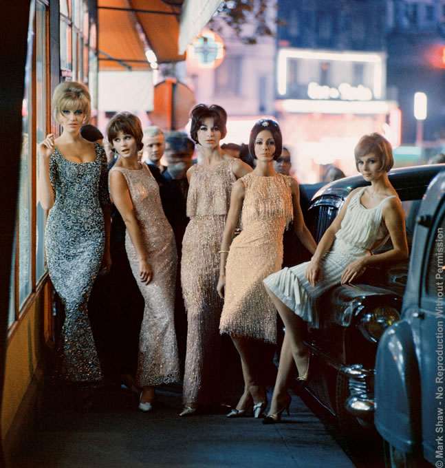 "Mod Girls in Sequined Dresses at Night, Paris, 1961. Photographed by Mark Shaw in Paris for Life's Fall 1961 issue, this image shows models wearing beaded dresses from Ferreras, Matta, Dior ( 2 dresses long and short) and Desses. The source for this image was a vintage 2.25"" x 2.25"" color transparency."