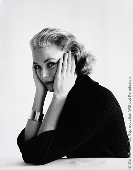 "Grace Kelly, Head Resting in Hands. Grace Kelly as photographed by Mark Shaw in December of 1954. The source of this image was a vintage 2.25"" x 2.25"" black and white negative."