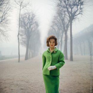 "Henrietta Tiarks Among The Trees, Crahay For Ricci, Paris, 1959. Henrietta Tiarks, The Dutchess Of Bedford, Models A Green Suit By Jules Francois Crahay Of Nina Ricci. The Location Is The Palais Royale In Paris. The Source Of This Image Was A 2.25"" X 2.25"" Vintage Color Transparency."