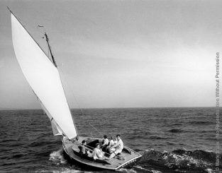 Kennedy Family Sailing Nb_40_41. The Kennedy Family Sailing On Nantucket Sound. The Source For This Image Was A Vintage 35mm Black And White Negative.