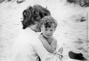 Jackie And Caroline On The Beach In Hyannis Port, 1959. This Photo Was Used As The Cover Of Mark Shaw's Famous Book, The John F. Kennedys, Which Was Re-released In The Year 2000. The Source For This Image Was A Vintage 35mm Black And White Negative.