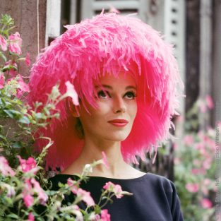 "Mod Girl In Pink Marabou Hat. This Image Is An Outtake From A Story On New Paris Fashion Photographed For LIFE Magazine In 1958. Model Sandy Brown In A Pink Marabou Yves St. Laurent For Dior Hat. The Source Of This Image Was A 2.25"" X 2.25"" Vintage Color Transparency."