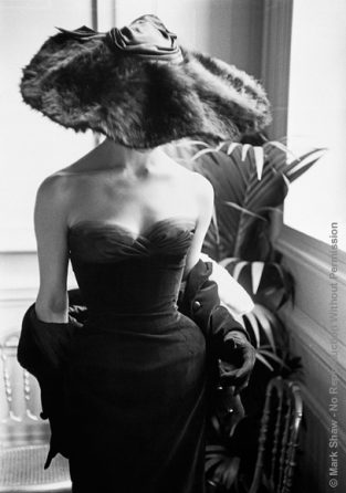 Dior Gown With Fur Hat, Paris, 1954. One Of Mark Shaw's Favorite Photographs, This Christian Dior Gown Was Published In 1954 In LIFE. The Source For This Image Was A Vintage Black And White Print.