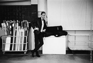 Fashion Designer Yves St. Laurent In His Studio As Photographed By Mark Shaw. The Source For This Image Was A Vintage 35mm Black And White Negative.