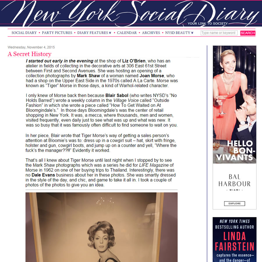New York Social Diary: A Secret History – November 2015