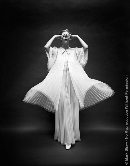 "VF Butterfly Robe Front. This image was part of an award winning advertising campaign for Vanity Fair lingerie photographed by Mark Shaw over the course of ten years. The source for this image was a vintage 8"" x 10"" black and white negative."