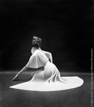 "VF Pleated Capelet Seated Back. This Image Was Part Of A Vanity Fair Award Winning Advertising Campaign Photographed By Mark Shaw Over The Course Of Ten Years. The Source For This Image Was A Vintage 8"" X 10"" Black And White Negative."