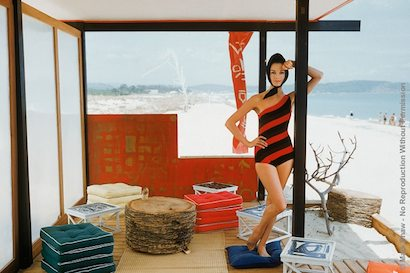 One Shouldered Maillot in St. Tropez Beach Cabana 1961. Photographed by Mark Shaw for the Jan. 13, 1961 issue of LIFE, Irene poses in a one shouldered maillot. The Japanese style beach cabana was located at St. Tropez's fashionable Epi Club. The source for this image was a vintage 35mm color transparency.
