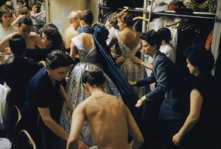 Backstage Balmain Blue Train. Backstage At The 1954 Pierre Balmain Couture Show. The Source For This Image Was A Vintage 35mm Color Transparency.
