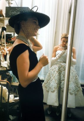 Backstage Mirror Girls In Black And White. Backstage At The 1954 Pierre Balmain Couture Show. The Source For This Image Was A Vintage 35mm Color Transparency.