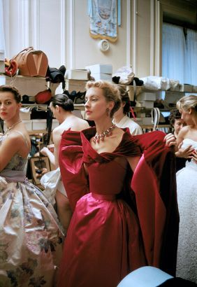 Backstage Red Gown With Rubies. Backstage At The 1954 Pierre Balmain Couture Show. The Source For This Image Was A Vintage 35mm Color Transparency.