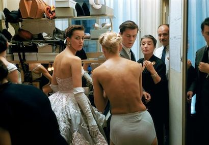 Backstage Two Bare Backs. Backstage at the 1954 Pierre Balmain Couture show. The source for this image was a vintage 35mm color transparency.