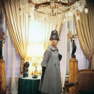"Designers' Homes Bucket Hat. Model Monique Chevalier In A Dior Creation, Photographed For 1960 Issue Of Life In The 17th Century Home Of Suzanne Luling, Directrice Of Dior. The Source Of This Image Was A 2.25"" X 2.25"" Vintage Color Transparency."