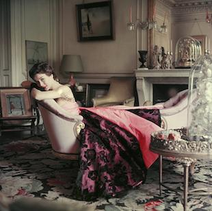 "Ghislaine Lounges In Elsa Schiaparelli's Home, Front. Mark Shaw Photographed Elsa Schiaparelli's Best-known Model, Ghislaine De Bosisson In An Ankle-length Dress Lounging On An Elongated Causeuse In Schiaparelli's Home Near The Champs Elysees For LIFE's Nov. 1953 Article ""Dress And Decor From Paris Designers."" The Floor Covering Is A Bassarabian Carpet From A Russian Church. The Source For This Image Was A Vintage 2.25"" X 2.25"" Color Transparency."