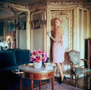 "Designers' Homes Pink Satin, 1960. Christa Vogel Wearing A Dior Satin Dress, Photographed For 1960 Issue Of Life Magazine. The Setting Is A House Owned By Suzanne Luling, Directrice Of Dior, Paris. The Source Of This Image Was A 2.25"" X 2.25"" Vintage Color Transparency."
