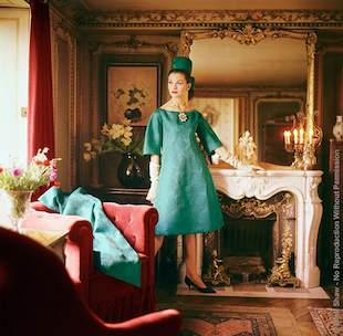 "Teal Princess Line Dior Dress. Outtake From A 1960 Photo Shoot For Life Magazine, This Image Was Photographed In A Grand Parisian Residence. The Source Of This Image Was A 2.25"" X 2.25"" Vintage Color Transparency."