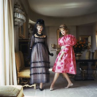"Designers' Homes Two Girls In Pink And Black. Two Models Wearing Dior Couture Gowns In A Grand Parisian Residence; An Outtake From A Story Photographed For LIFE In 1958. The Source Of This Image Was A 2.25"" X 2.25"" Vintage Color Transparency."