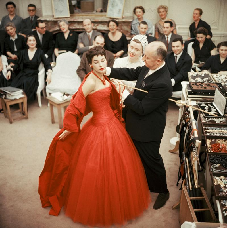 "Christian Dior and Assistant Adjust Victoire. Outtake from a photo shoot for the Sept. 6, 1954 issue of Life, Mark Shaw's camera captures a moment of adjustment at the Dior Salon. The source for this image was a vintage 2.25"" x 2.25"" color transparency."