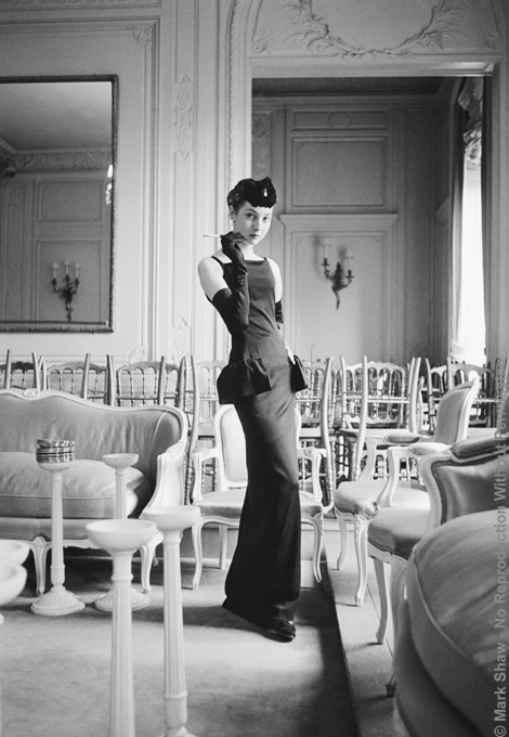 Dior, Renee in Gazette du Bon Ton, 1954. The source for this image was a vintage 35mm black and white negative.