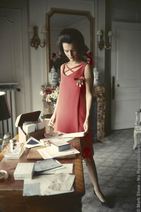 Dior, Lee Radziwill, Red Dress at Desk, 1962. The source for this image was a vintage 35mm color transparency.