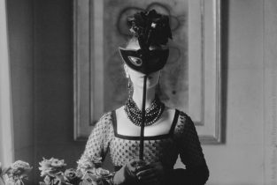 Dior, St. Laurent's Mask With Lola Dress, 1958. The Source For This Image Was A Vintage 35mm Black And White Negative.