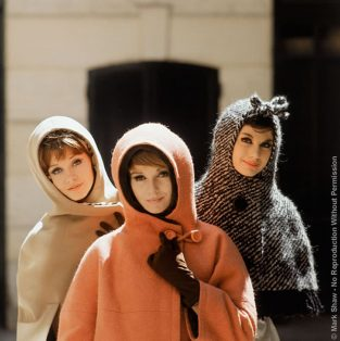 "Mod Girls, Three Hoods. Hoods By Christian Dior Photographed For September 1961 Issue Of LIFE. The Source Of This Image Was A 2.25"" X 2.25"" Vintage Color Transparency."