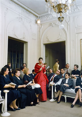 "Salon Dior Man Agog Red Gown. According To LIFE This Portrays ""A Whimsical Moment…"" At The Christian Dior Couture Show In Paris In 1954. The Source For This Image Was A Vintage 35mm Color Transparency."