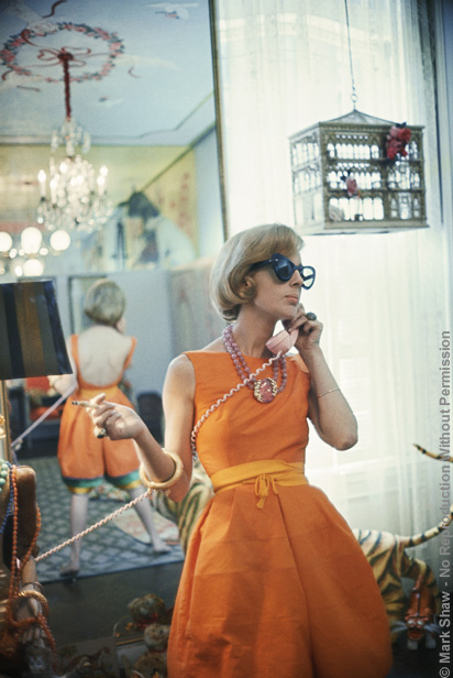 Tiger Morse in Orange on Phone 10, New York, 1962. The source for this image was a vintage 35mm color transparency.