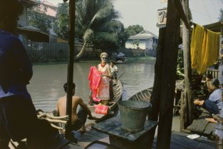 Tiger Morse In White On Boat, 1962. The Source For This Image Was A Vintage 35mm Color Transparency.
