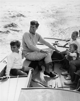 JFK Shown Sailing Off Hyannis Port In 1959. The Source For This Image Was A Vintage 35mm Black And White Negative.