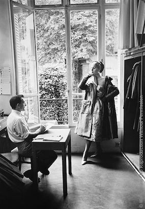 Guy Laroche Sketches Model. Fashion Designer Guy Laroche is shown sketching a model wearing one of his ensembles. Photographed by Mark Shaw for LIFE in 1954.