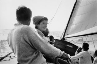Kennedy Family Sailing Nb_038_039. The Kennedy Family Sailing On Nantucket Sound. The Source For This Image Was A Vintage 35mm Black And White Negative.