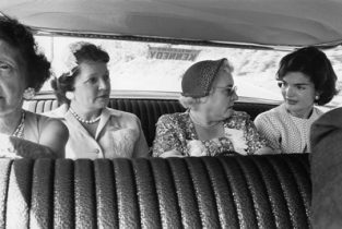 The Kennedy Campaign 1959. Jackie Meets Local Ladies. The Source For This Image Was A Vintage 35mm Black And White Negative.