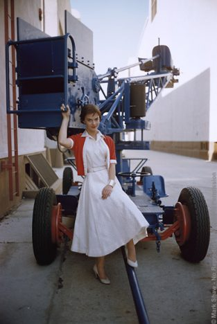 Natalie Wood Backlot With Crane, 1956. A Mark Shaw Backlot Photograph Of Natalie Wood For LIFE Magazine In November 1956. The Source For This Image Was A Vintage 35mm Color Transparency.