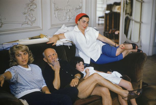 "Out take from a photo shoot for the Nov 14, 1955 issue of Life. Picasso permitted ""this rare photographic session in his new Cannes villa, La Calafornie."" The source for this image was a vintage 35mm color transparency."