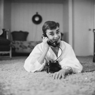 "Audrey Hepburn On The Phone At Home. This Image Is An Out Take From Photos Shot For The Cover Of The December 7, 1953 Issue Of Life. The Source Of This Image Was A Vintage 2.25"" X 2.25"" Black And White Negative."